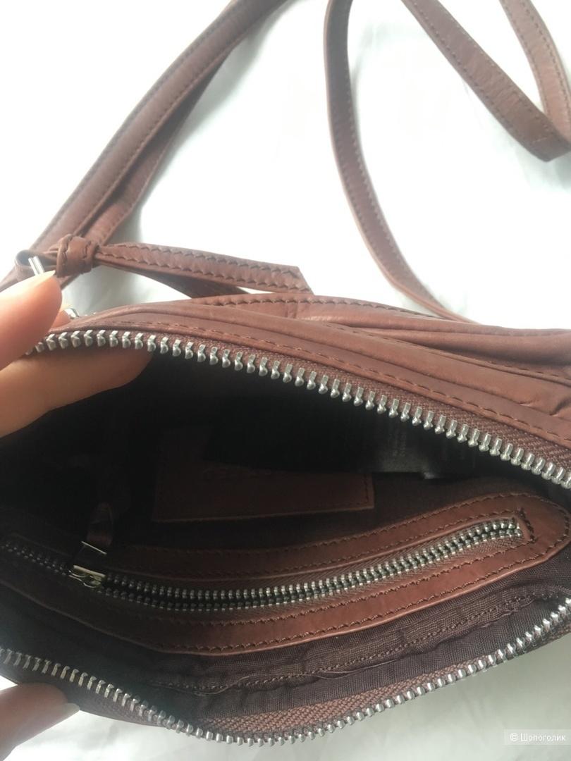 Кожаная сумка шоколадного цвета Selected