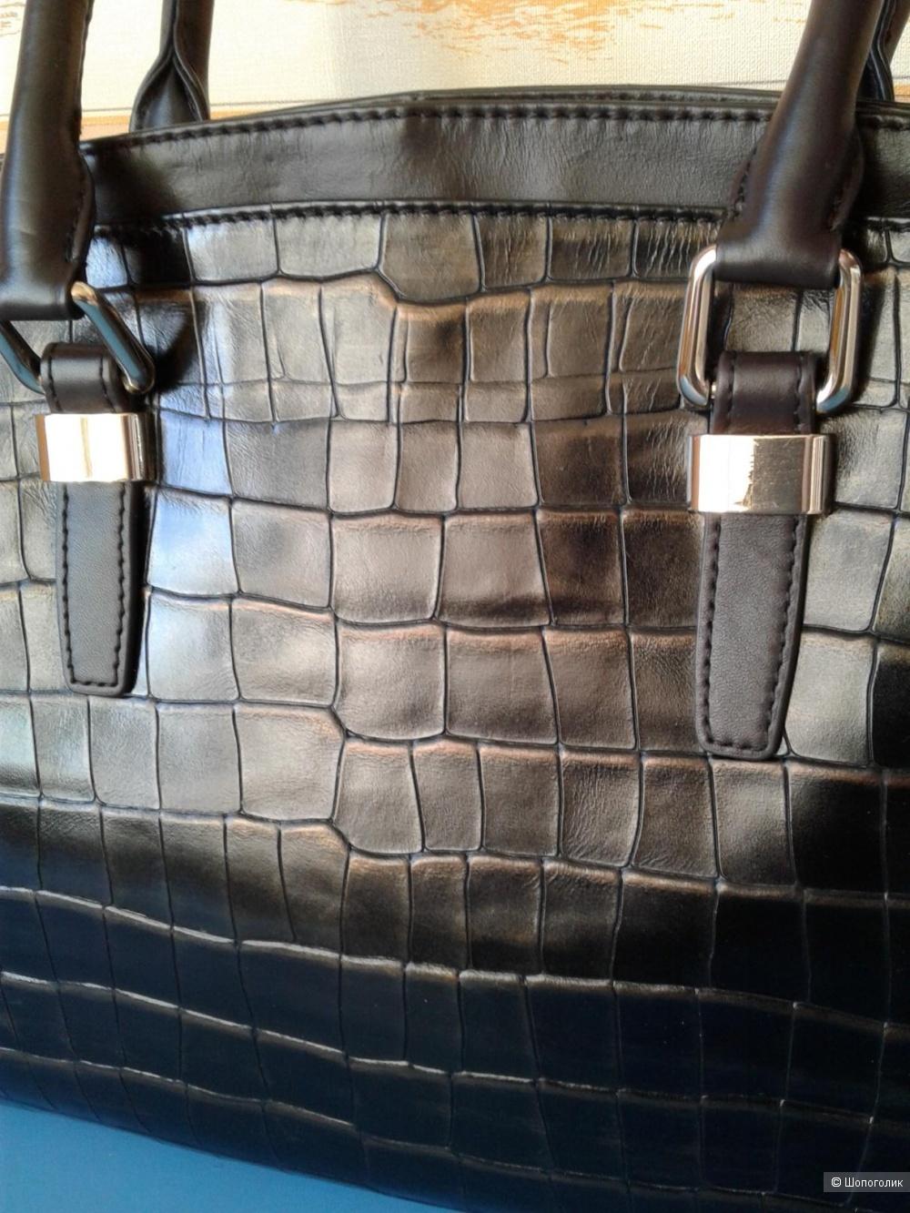 Кожаная сумка Eleganzza размер 37х27х13 см