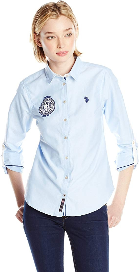 Рубашка женская U.S. Polo Assn.Solid Oxford Woven Shirt, размер М (росс. 44-46)