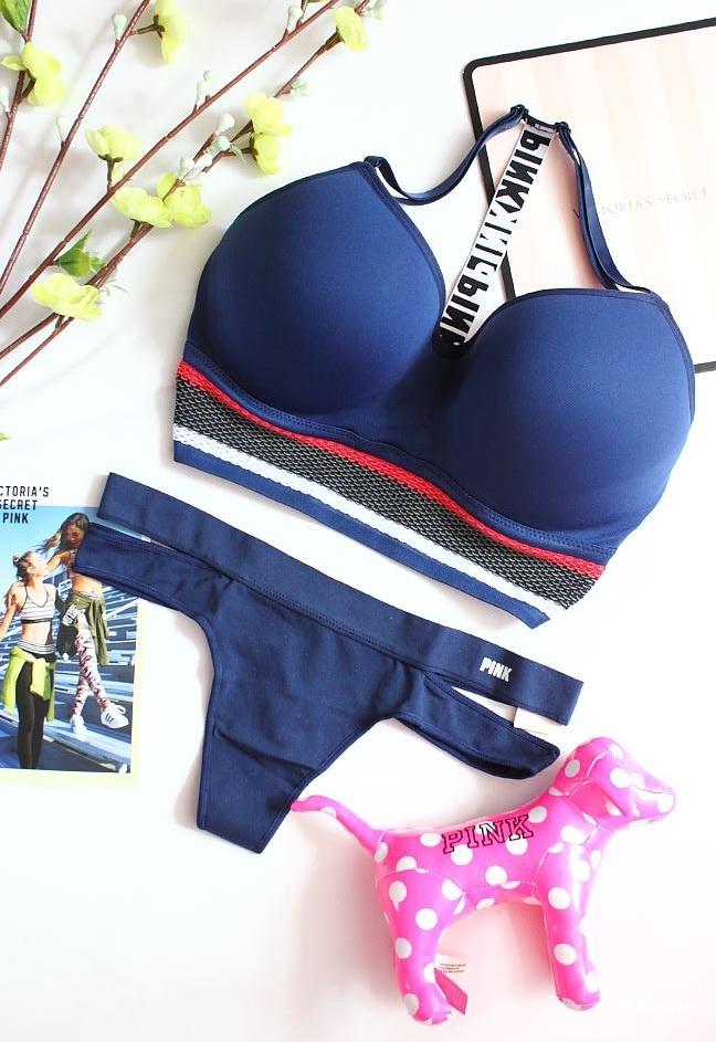 Бесшовный комплект Pink Victoria's Secret бралетт и трусики, размер S