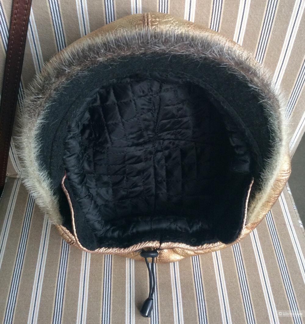 Утеплённая кожаная кепка no name р.56-58