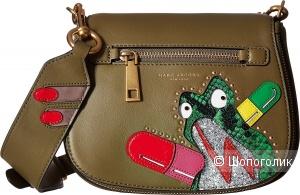 Кожаная сумка Marc Jacobs Army Green Leather Verhoeven Frog Small Nomad Shoulder Bag
