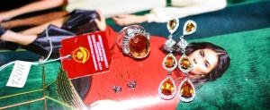 Набор из Российского серебра с Цитринами 925 пробы: кольцо 16,5 и серьги 5 см