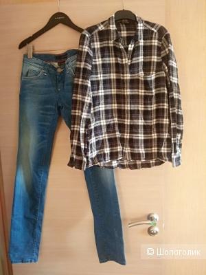 Комплект: джинсы Calvin Klein и рубашка Massimo Dutti, размер s(42,44)