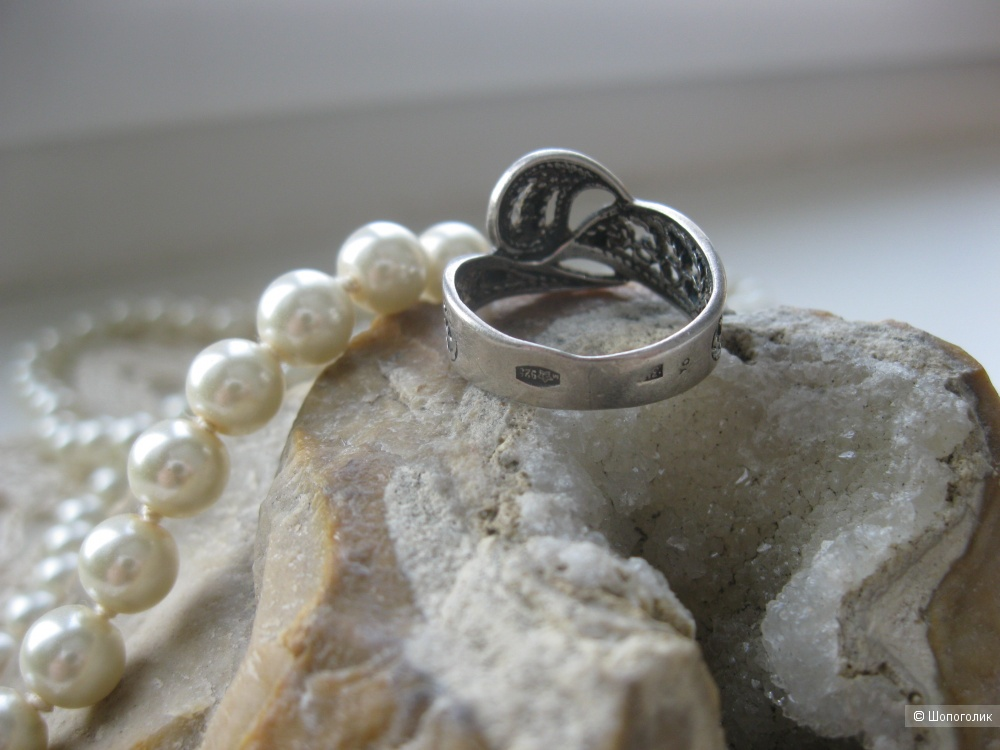 Винтажное серебряное кольцо, 925 проба, 17 размер