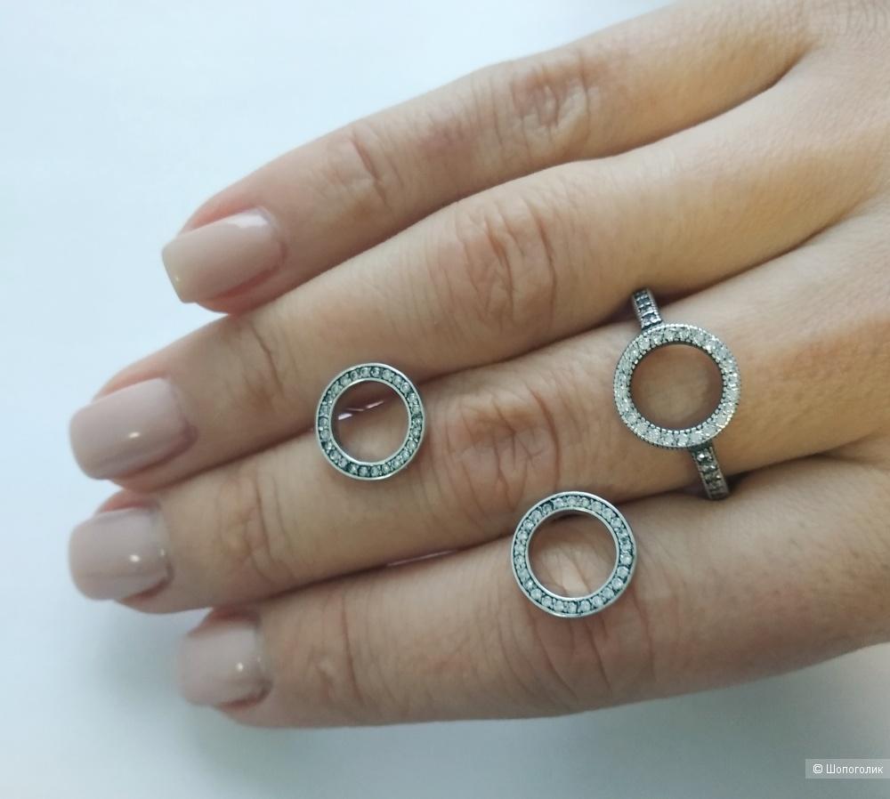 Серьги «Круг сияния», Pandora, серебро 925