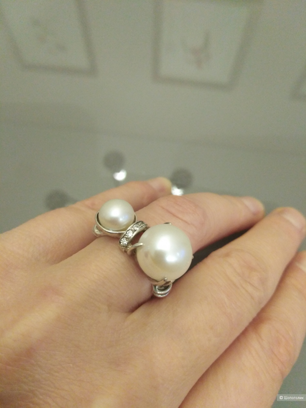 Гарнитур серьги +кольцо серебро