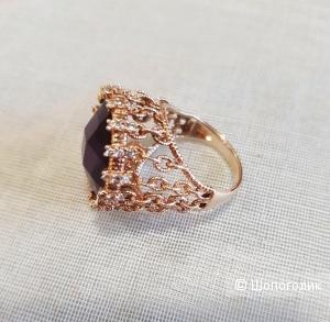 Серебряное позолоченное кольцо. Размер 18