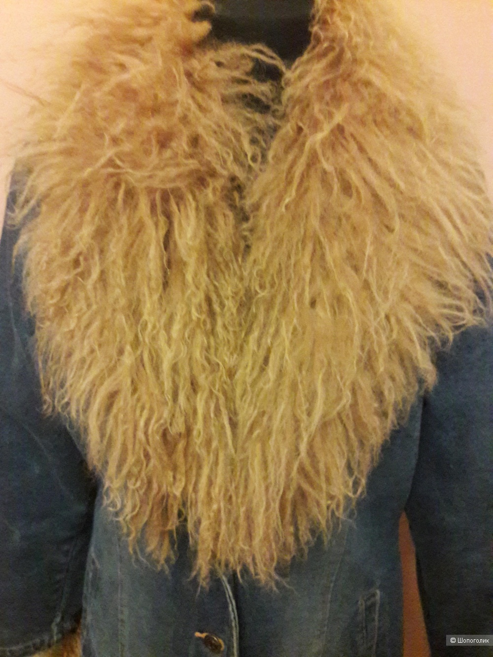 Джинсовое пальто с мехом ламы Rene Derhy размер L