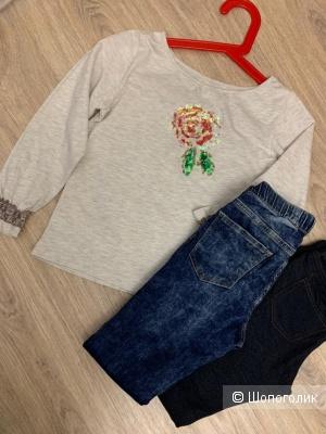 Лот детской одежды лонг / брюки 7/8лет