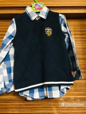Комплект рубашка Charlie&me+жилетка Magic- 5-7 лет
