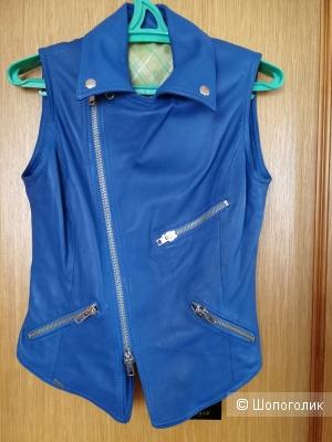 Кожаный синий жилет Sword 44-46 размер