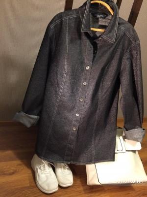 Джинсовая рубашка-стрейтч с блеском Marina Sport by Marina Rinaldi (MAX MARA) 48-50