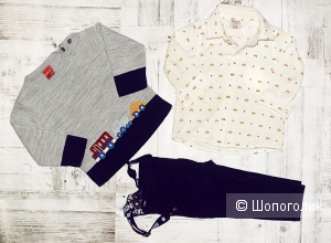 Комплект: рубашка, джемпер и брюки с подтяжками,  Bebus, рост 74-80 см