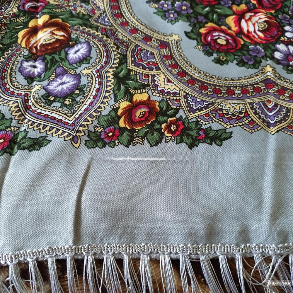 Павловопосадский платок (шаль) серый