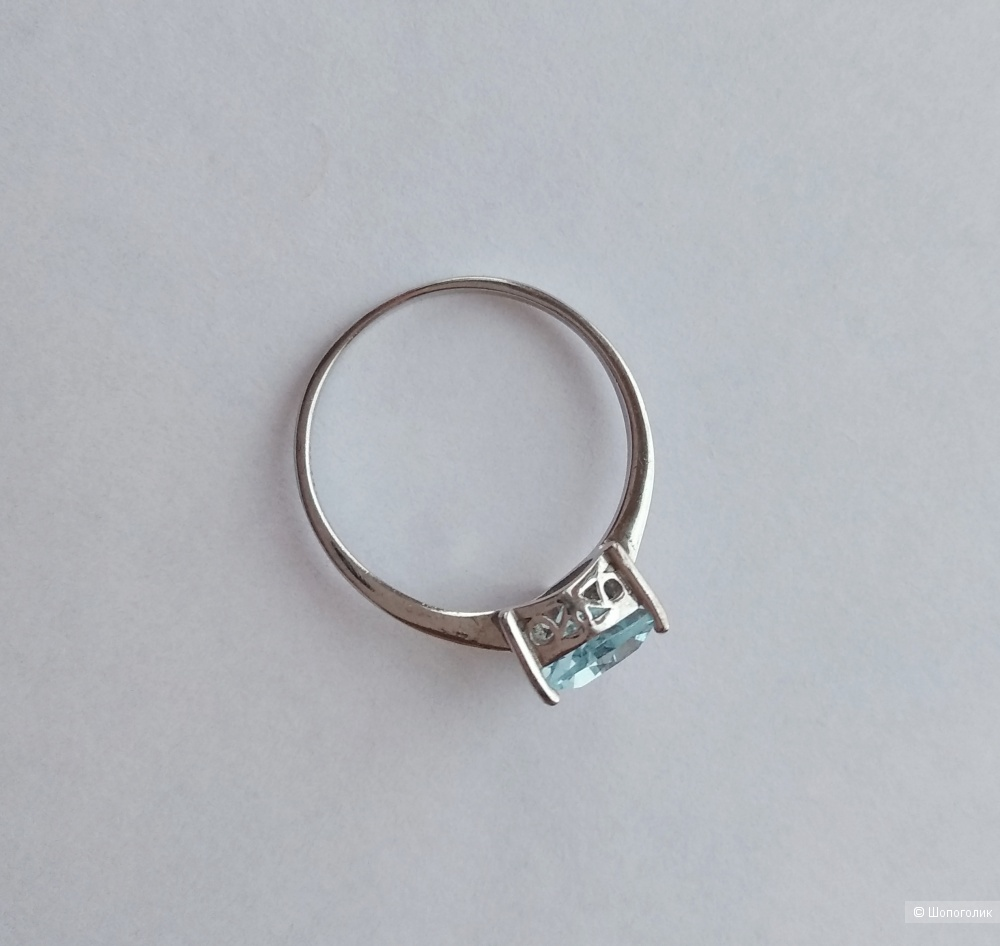 Кольцо, серебро 925, топаз, р.17-17,5, Sunlight