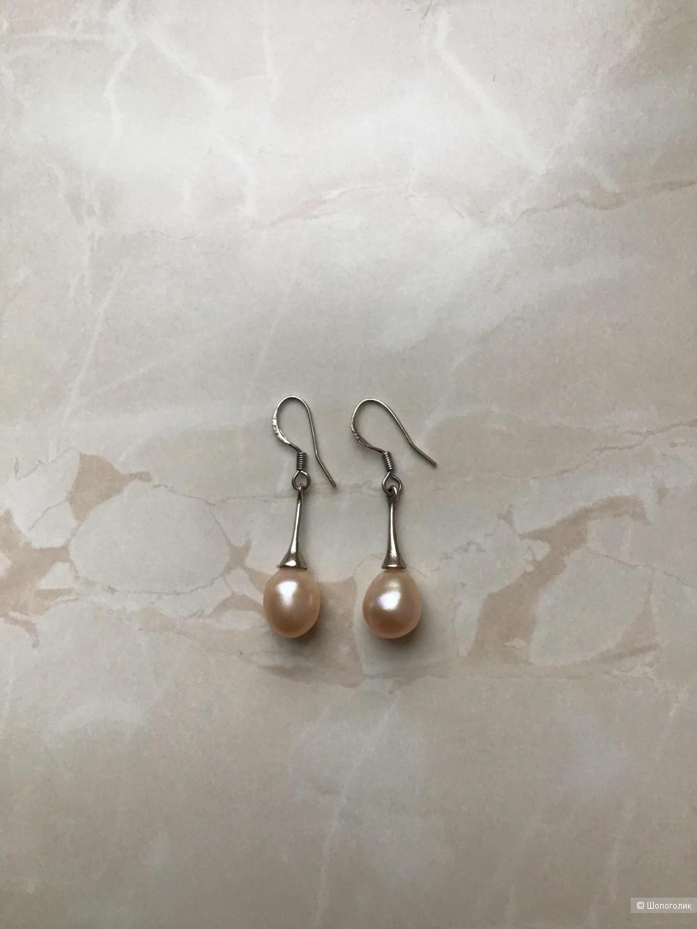 Серебряные серьги с натуральным жемчугом