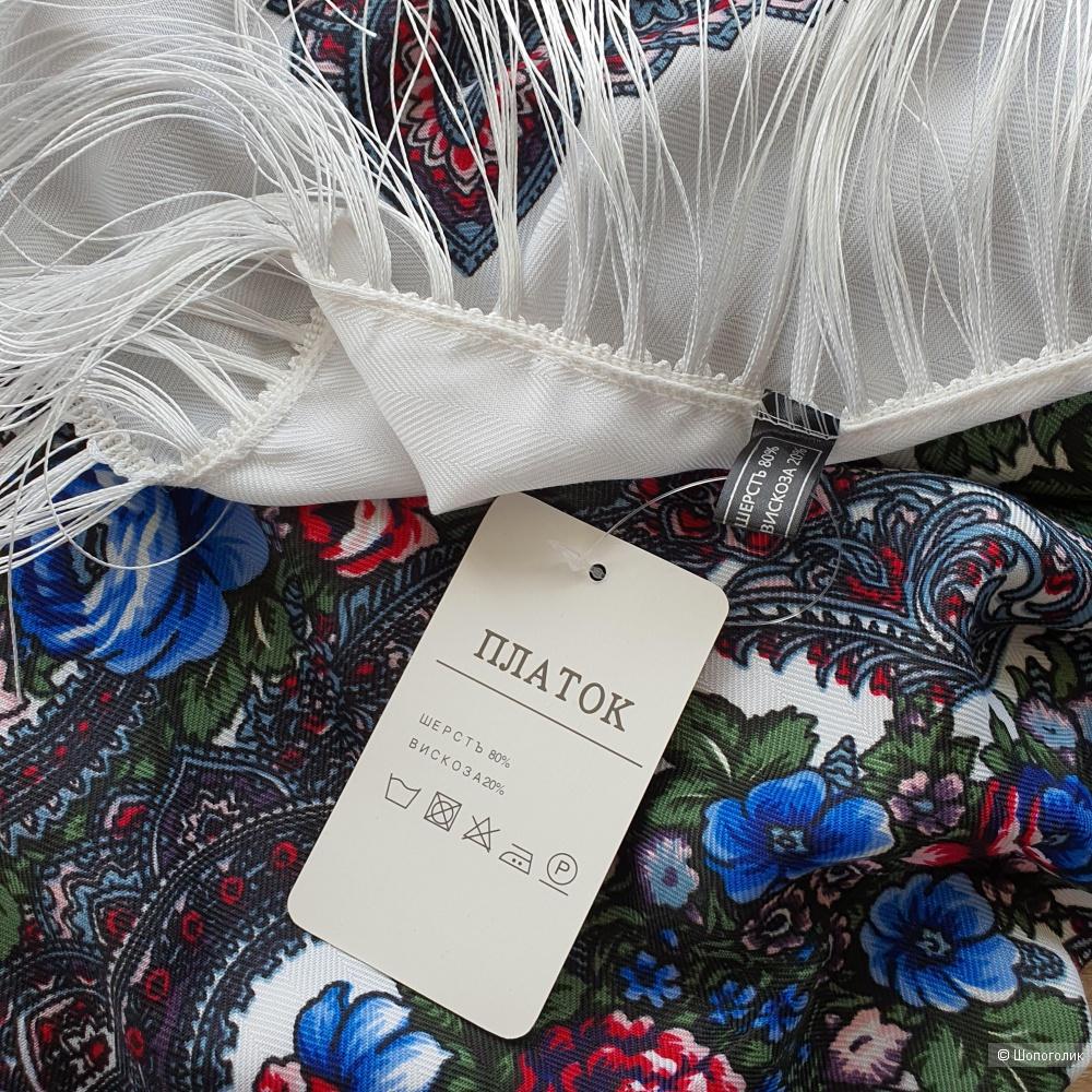 Павловопосадский платок (шаль) белый