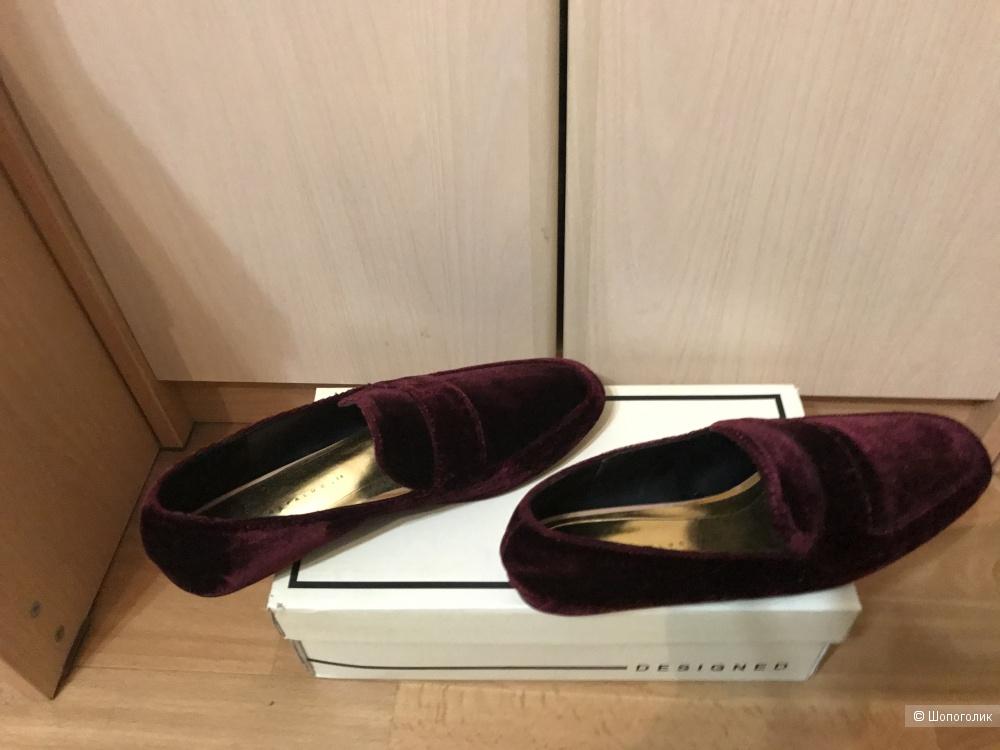 Лоферы мокасины Zara 38 p велюр