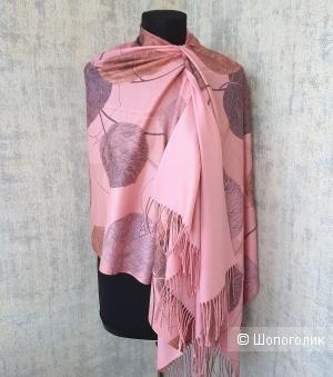 Палантин Cashmere кашемир Листья (розовый)