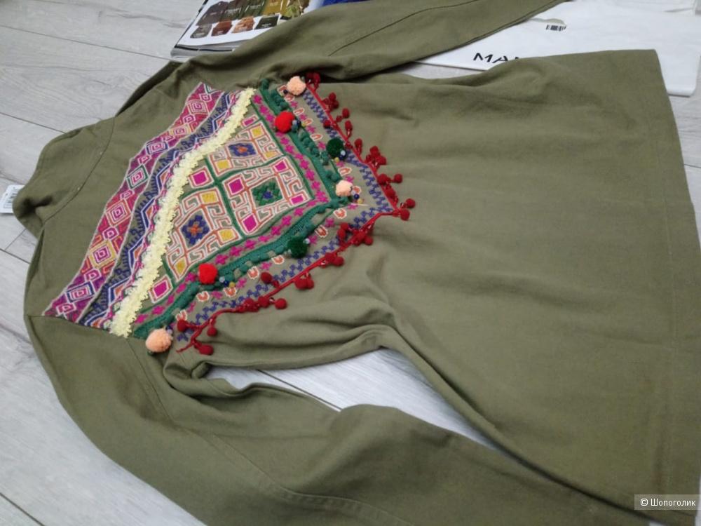 Верхняя рубашка- куртка с вышивкой mango, размер 42-44 росс.