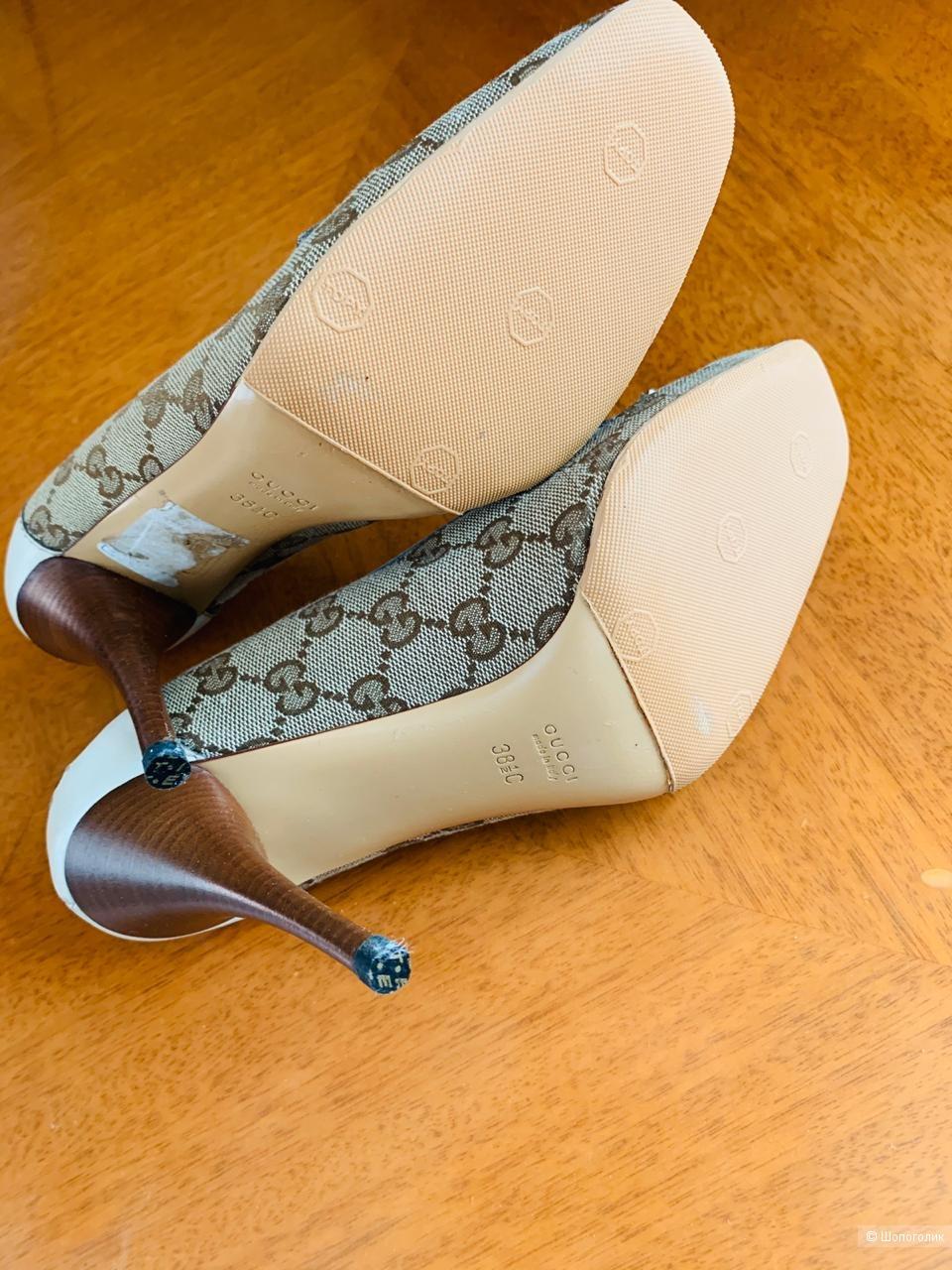 Туфли Gucci Bamboo GG Suprim, размер 38,5