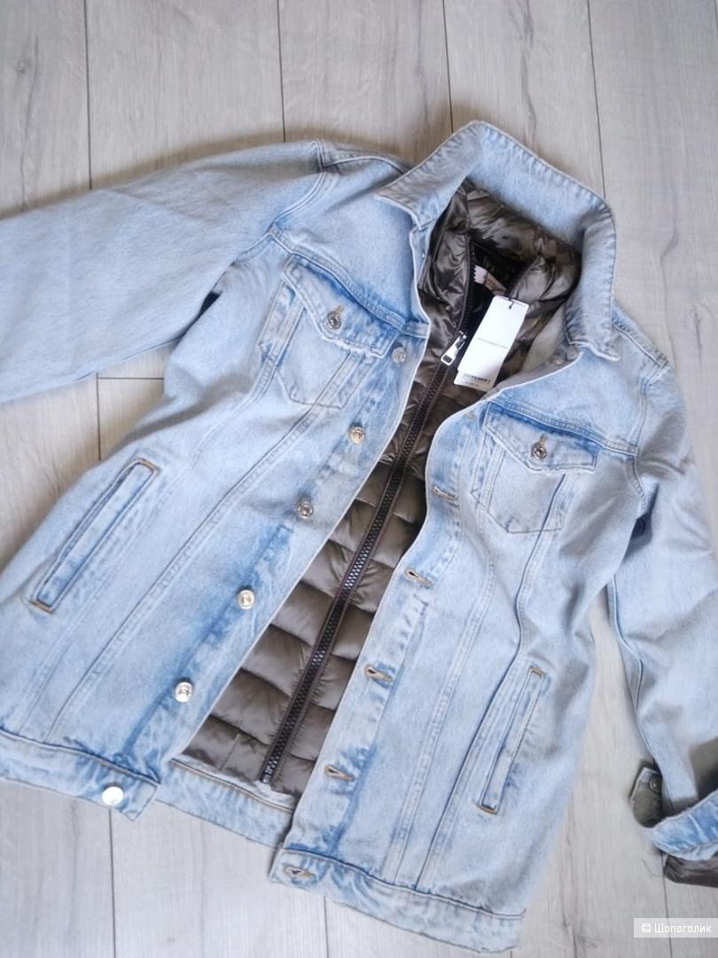 Удлиненная джинсовая куртка mango, размер росс. 42-44-46