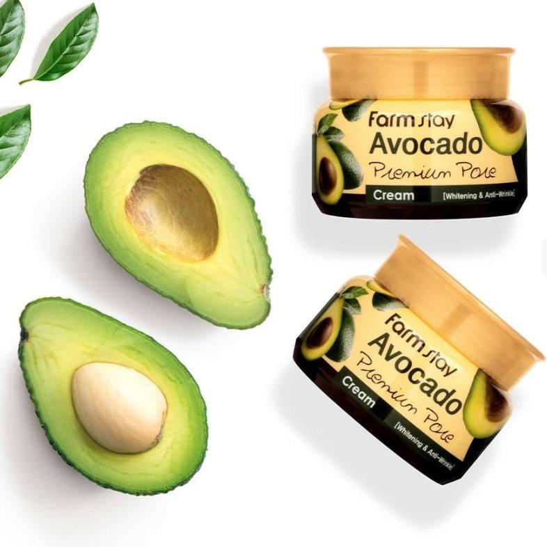 Крем для лица отбеливающий с эффектом лифтинга с маслом косточек авокадо Farm stay
