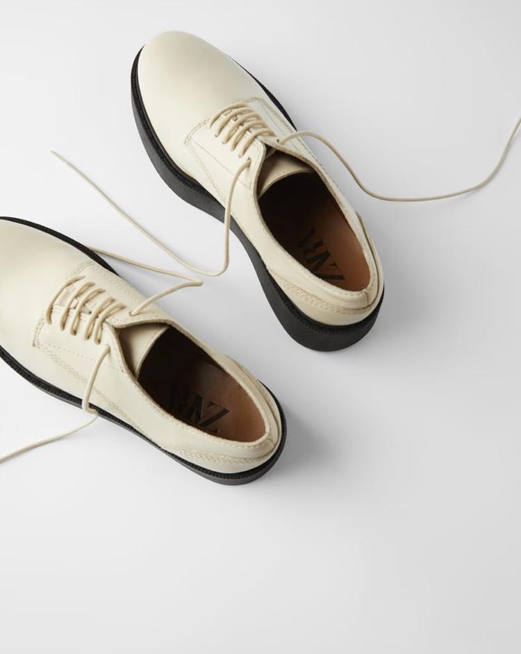 Кожаные туфли-блюхеры Zara, размер 39