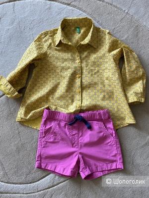 Сет рубашка Benetton и шорты S.Oliver,размер 100 и 92