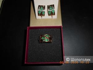 Комплект:серьги и кольцо с изумрудами,Кострома
