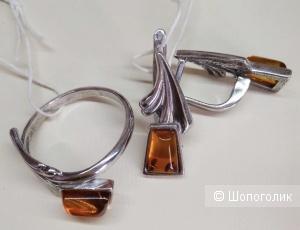 Комплект из серебра с янтарем Балтийское золото