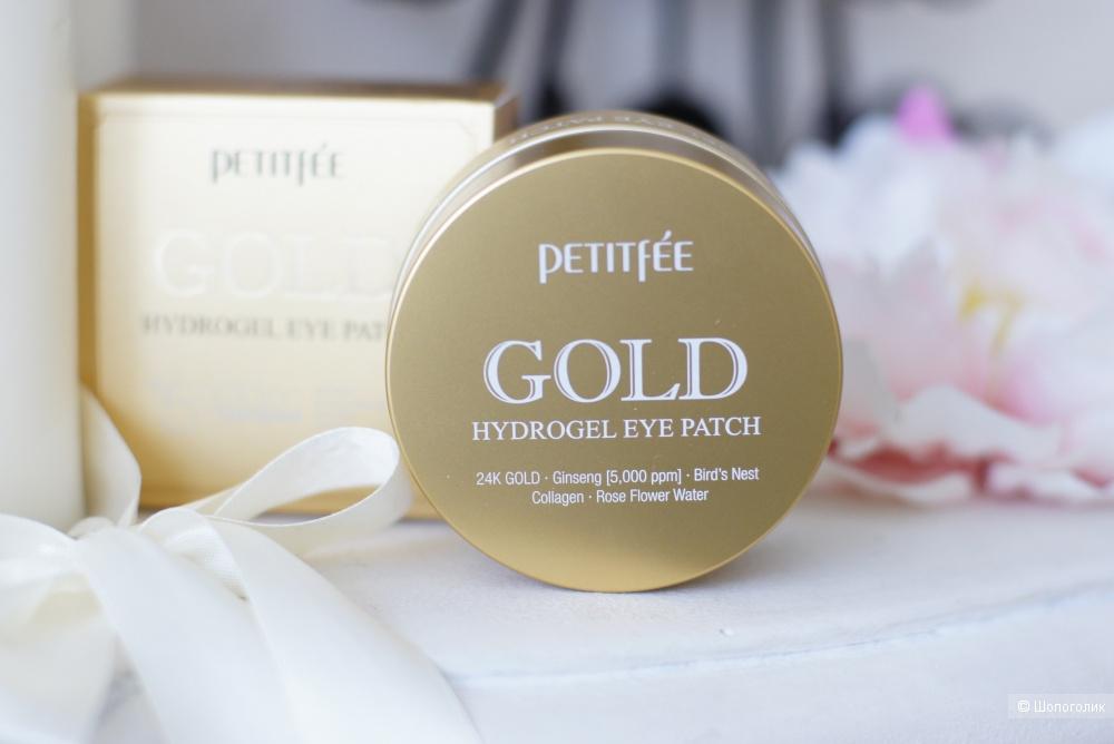 Гидрогелевые патчи для век с содержанием частиц 24-каратного золота Petitfee