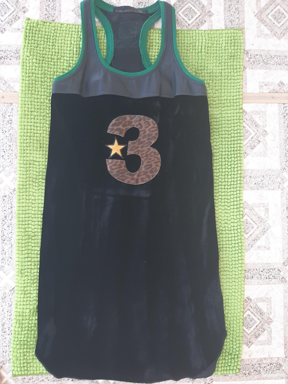 Платье с натуральной кожей Tre cinque sette ,размер 44 рус.
