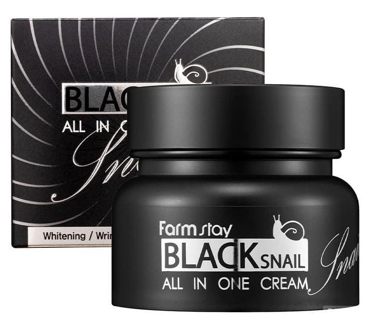 Многофункциональный крем с муцином черной улитки (100 мл)  FARMSTAY Black Snail All In One Cream
