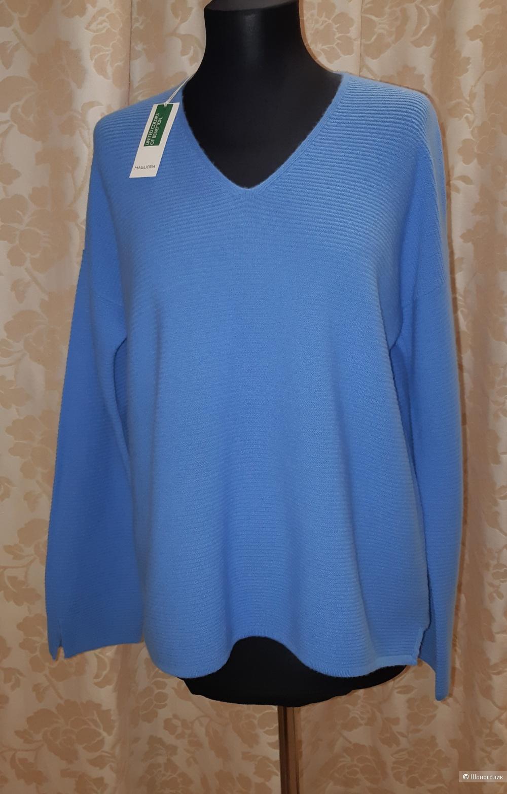Шерстяной пуловер benetton, размер l
