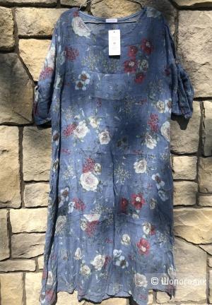 Платье натуральный лен plus size BLU CON FIORI, 48-54