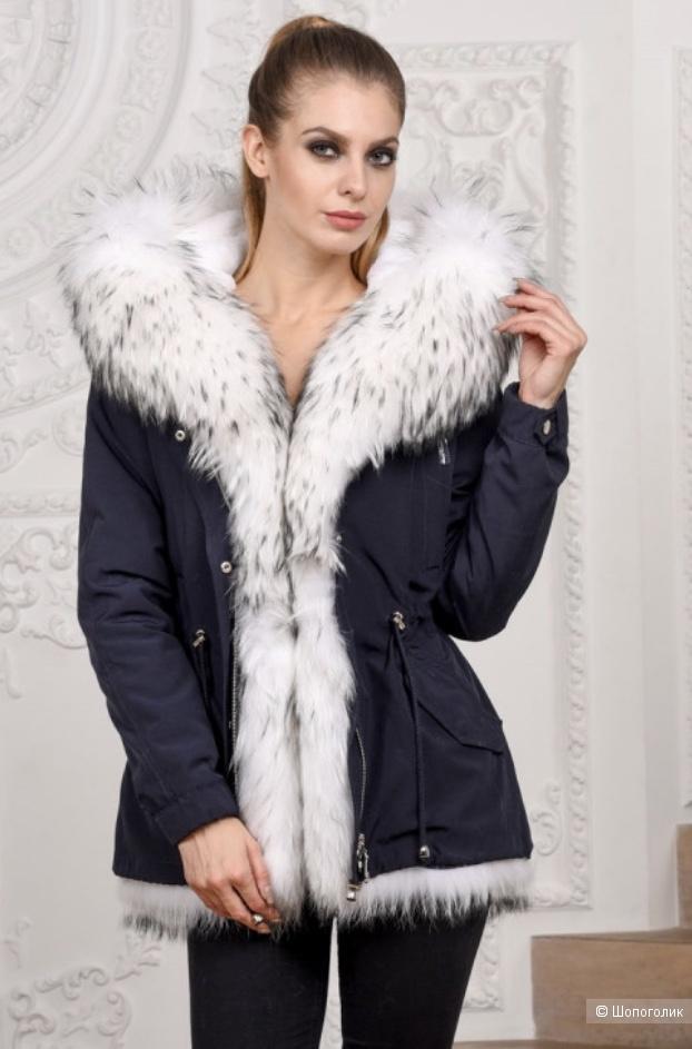 Зимняя парка-куртка с мехом енота Madannu, р. Xs(42)