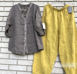 Комплект брюки шаровары Pure lino Italy и футболка/рубашка,  42-56