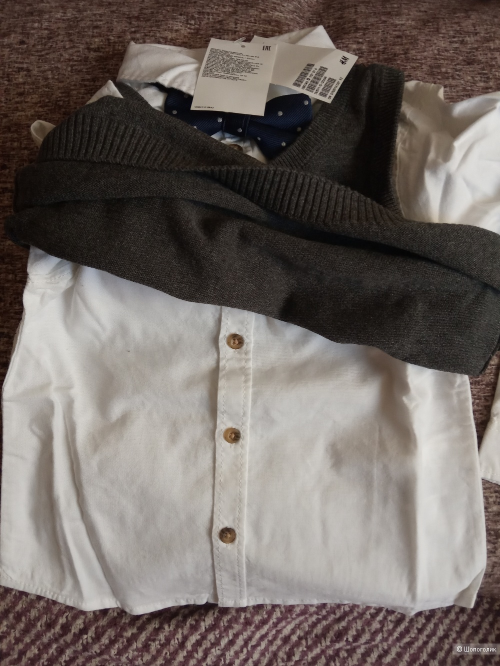 Двойка рубашка и жилет HM, размер 104 см