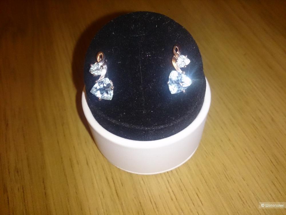 Серебряные серьги с натуральными топазами Sunlight