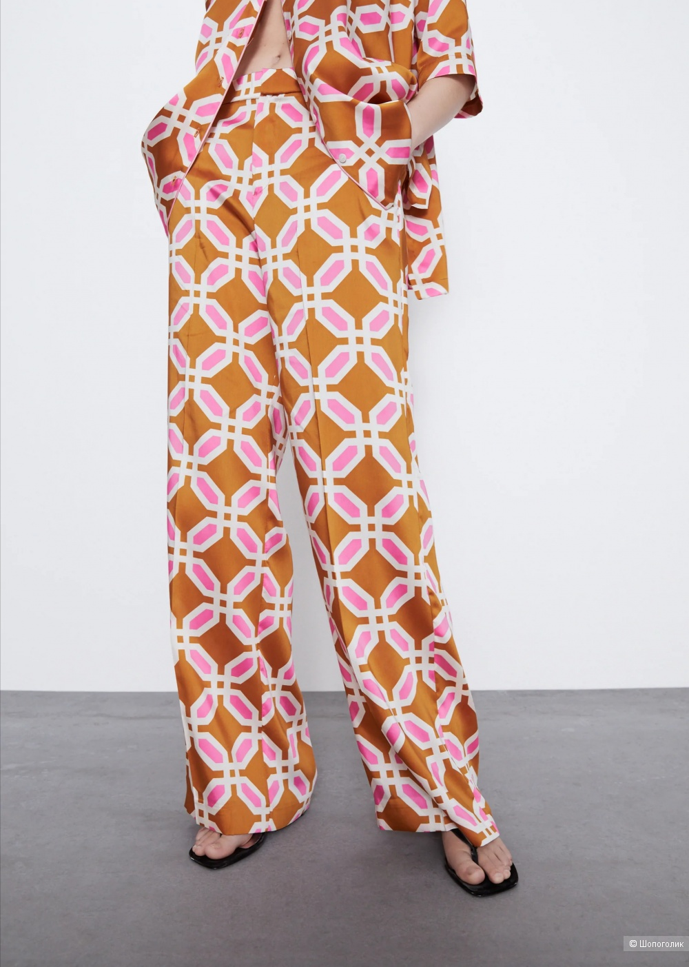 Брюки в пижамном стиле  zara S