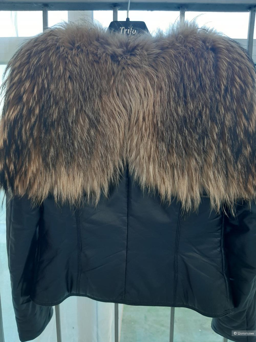 Кожаная куртка -парка Tbect&miooro,размер 44-42 рус.