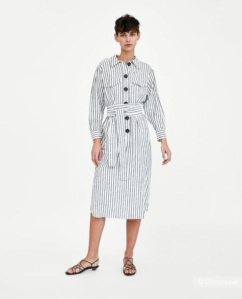 Льняное Платье Zara Women, р. 46-48.