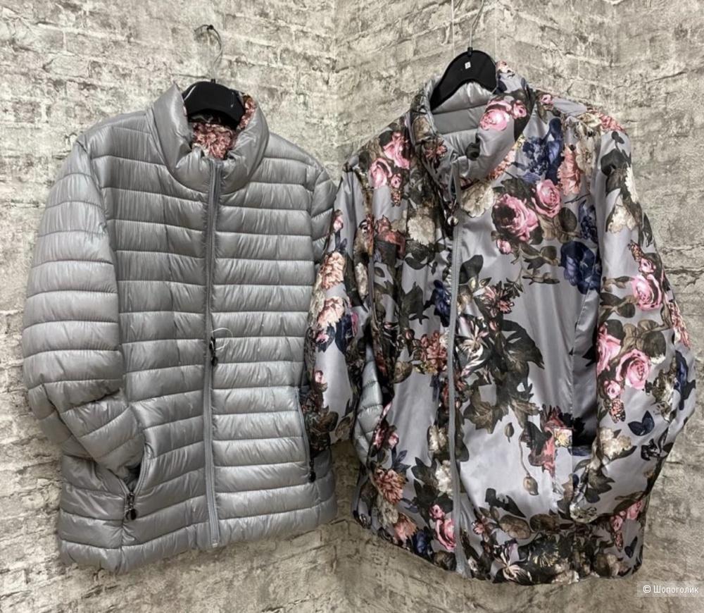 Куртка двусторонняя plus size GRIGIO CON FIORI ROSA, 46-56