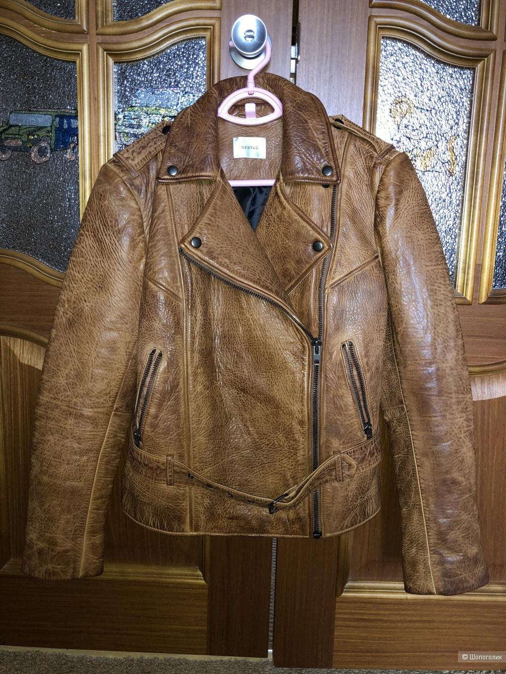 Женская кожаная куртка-косуха бренда GESTUZ размер 46-48