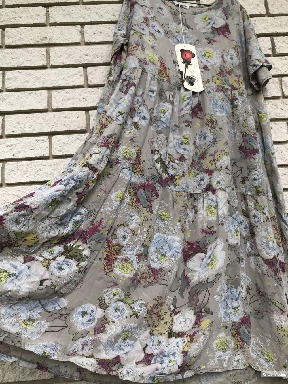 Платье штапель Италия Plus size Rose pastello, 44-54