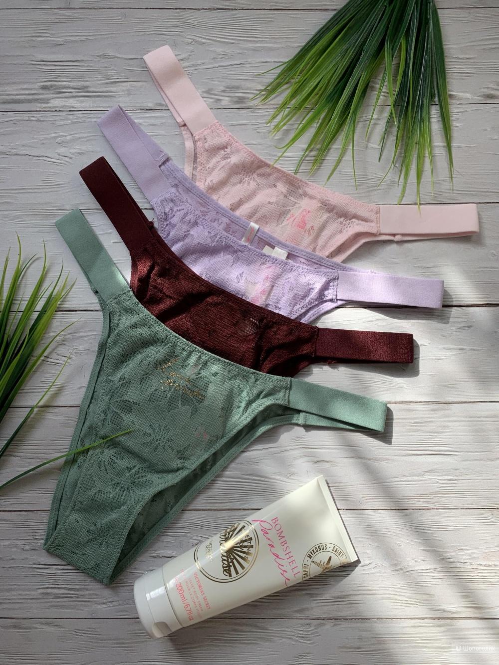 Кружевные бразилианы Victoria's Secret, набор из 4 штук, S