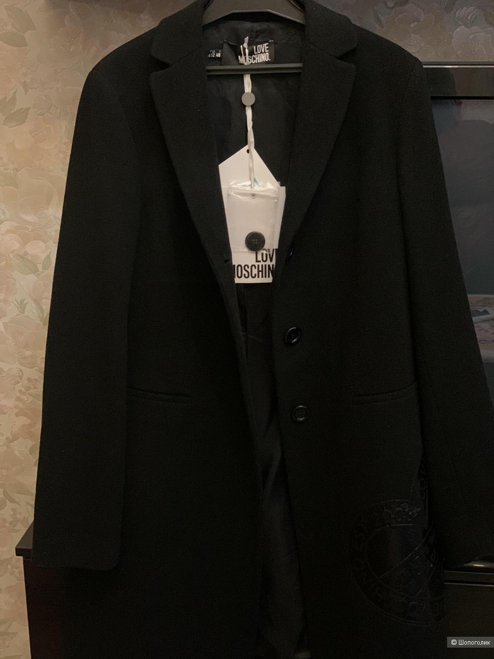 Черное пальто Love Moschino, 48 it (48 русс).