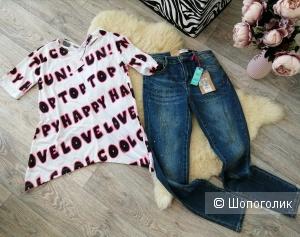 Лук из джинс и футболки OVS, ИТАЛИЯ, размер 13-14 лет